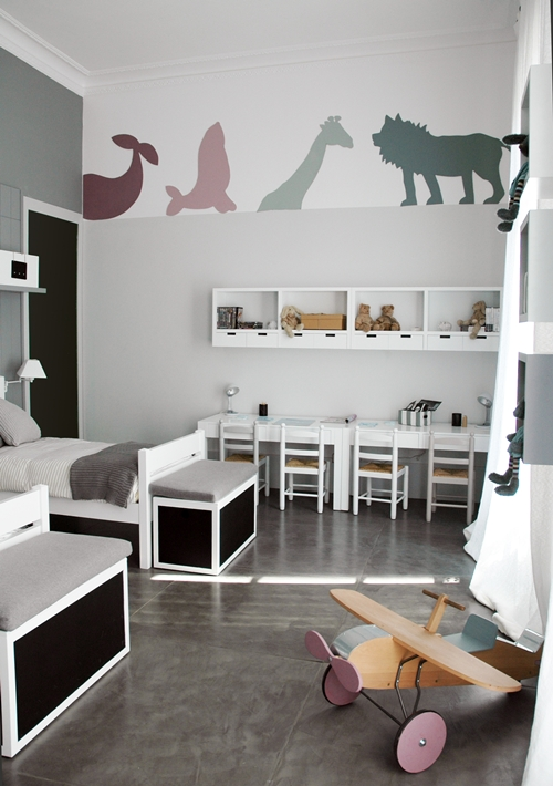 unisex boys girls kids room childrens bedroom childs grey gray animal theme