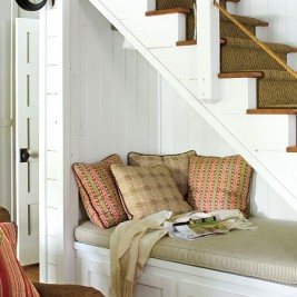 under stair reading nook