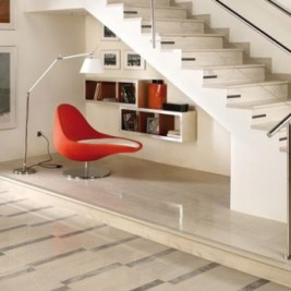 modern under stairs reading nook
