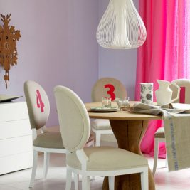 quirky number chairs pink beige purple decor cuckoo clock