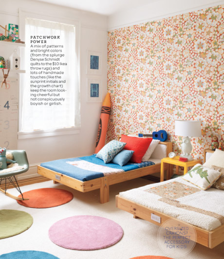 unisex boys girls kids room childrens bedroom childs orange floral wallpaper circle dot rugs copy
