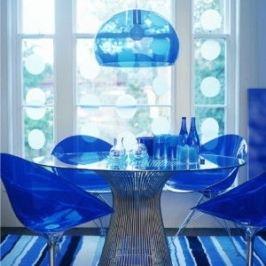 quirky blue perspex dining room glass table
