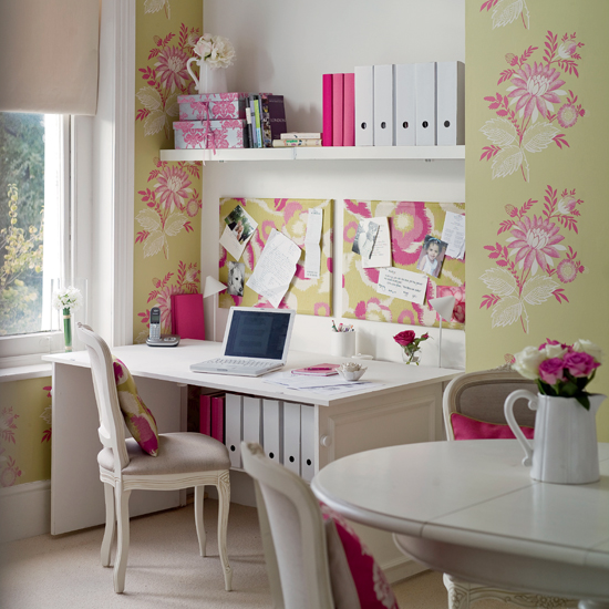 7 pink green white feminine home office dining room my for Dining room office ideas