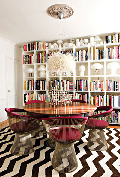 quirky dining room zigzag stripe rug carpet home library