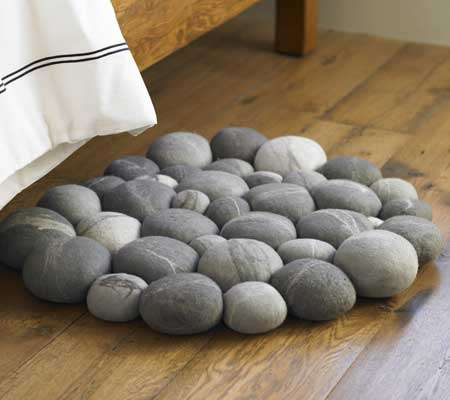 stone grey gray pebbles rug mat
