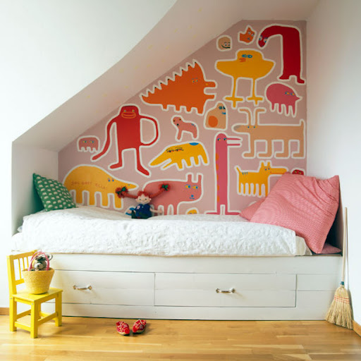 unisex boys girls kids room childs colourful colorful animal theme childrens bedroom