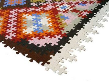 colourful colorful jigsaw rug mat