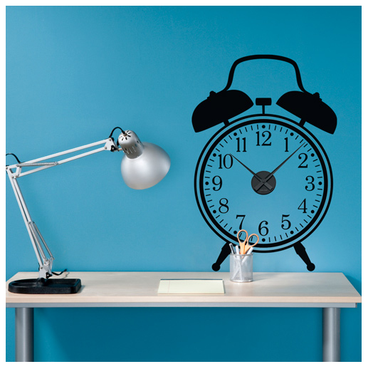 Alarm clock decal with mechanism