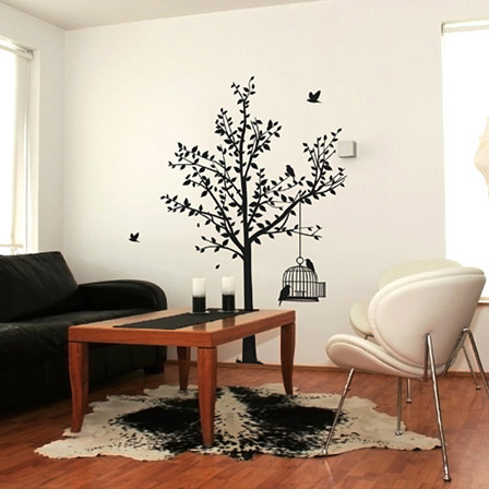 Birdcage tree large black silhouette wall decal sticker art