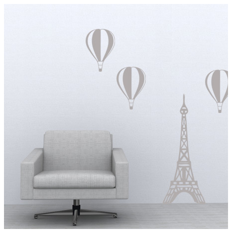 Paris balloon decal