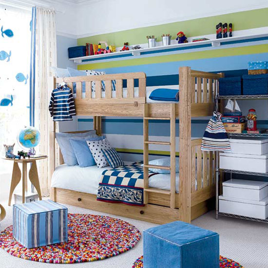 Rooms Decoration For Boys : ... -striped-wall-modern-kids-room-childs-bedroom-boys-girls-unisex.jpg