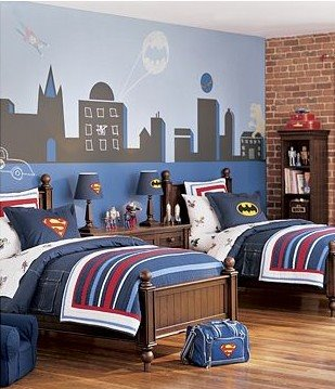 Designkids Room on Superman Superhero Mural Kids Room Childs Bedroom Boys Girls Unisex