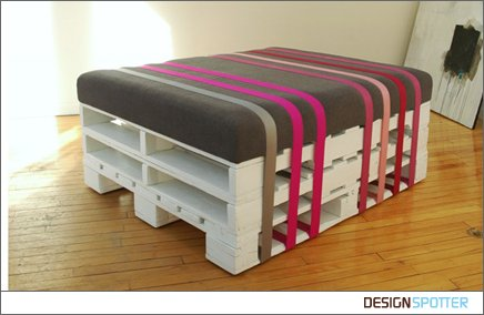 Recycled Home Decor on Pallet Furniture White Grey Gray Pink Diy Ottoman