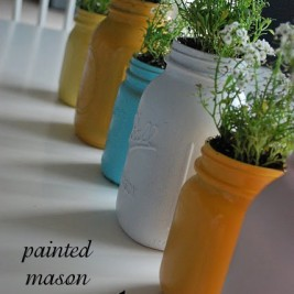 Painted Mason Jars Indoor Mini Kitchen Herb Garden
