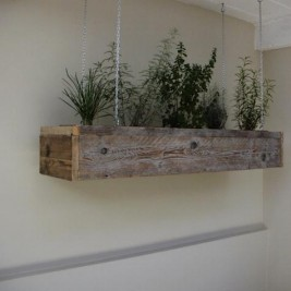 Rustic DIY indoor hanging herb garden design