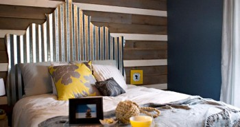 Corrugated metal headboard via A Designers Diary