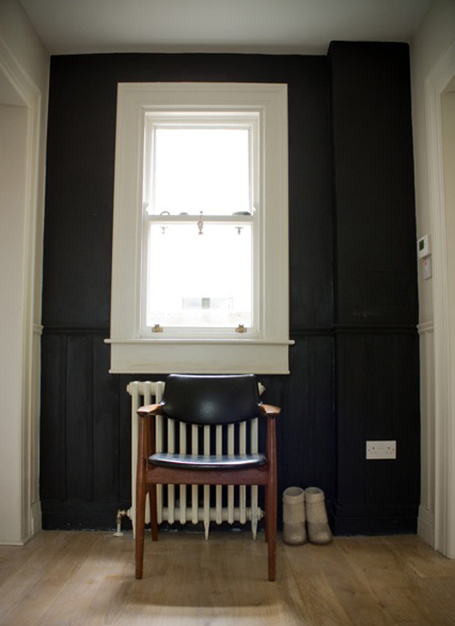 black white hallway traditional radiator wood leather chair