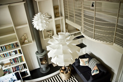 black white living room artichoke lamp shade mezzanine