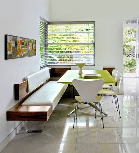 white wood dining room idea with wooden padded corner banquette bench