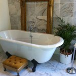 traditional classic white bathroom scheme claw foot roll top bath