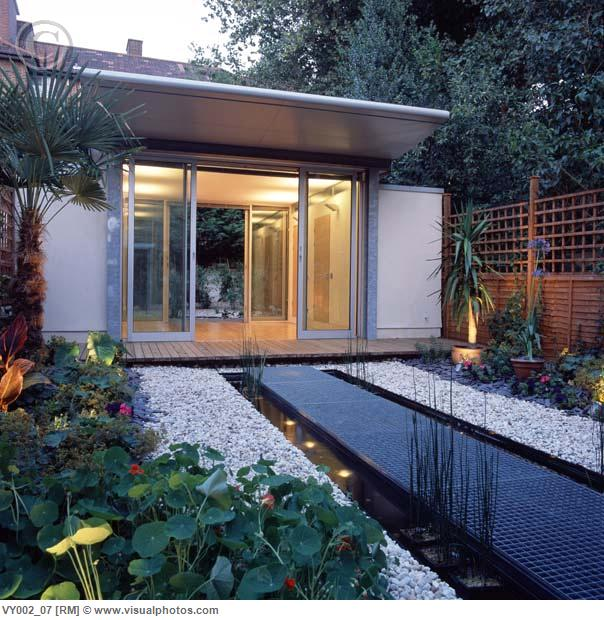 modern zen courtyard garden home office water feature in the