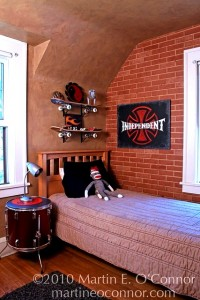 Teenage boys bedroom ideas skateboard shelves