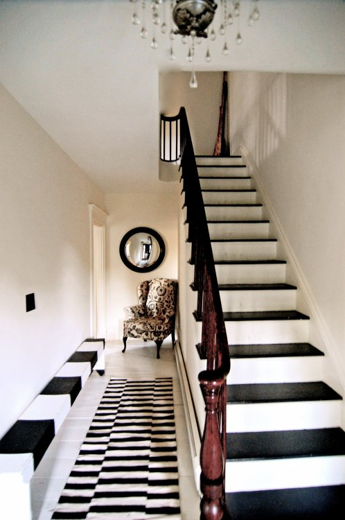 Monochrome Black And White Hallway Design Painted Stairs
