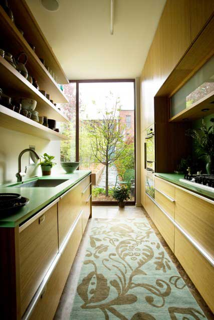 Contemporary wooden narrow galley kitchen
