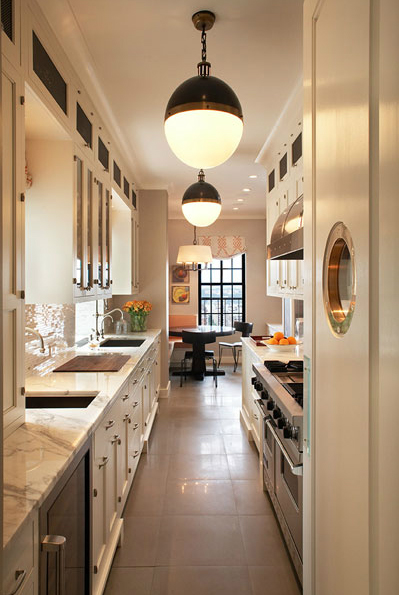 White long narrow kitchen layout