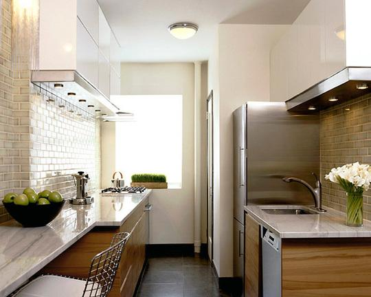 Modern galley kitchen breakfast bar layout