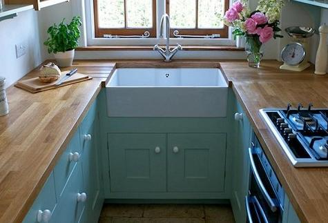 Tiny country kitchen layout duck egg painted cabinets