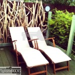 Reclaimed driftwood fence sunloungers