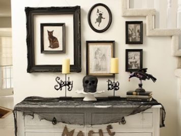 Halloween display table spooky hallway decor