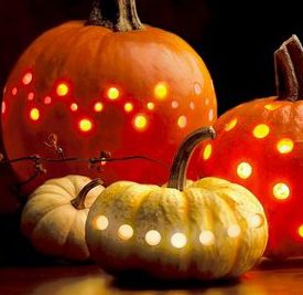 Drilled pumpkin luminaries