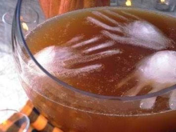 Halloween punch hand shaped ice cubes