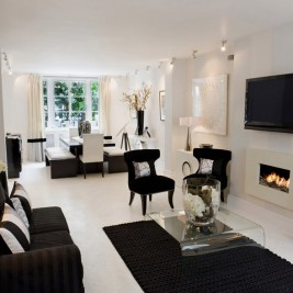 Black white living room decor
