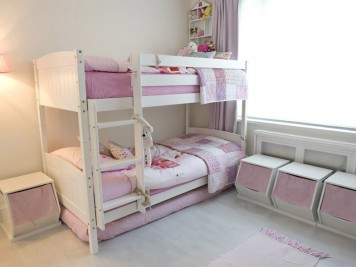 Pink white childrens bedroom