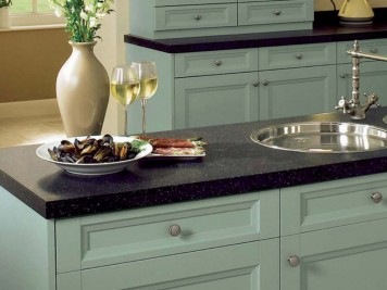 Arundle duck egg painted kitchen cabinets