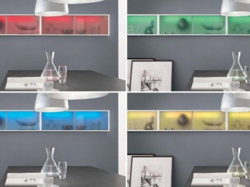 ODINA Colored coloured glass kitchen cabinets