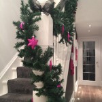 Pine garland gray grey stair runner