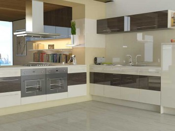 Coffee cream gloss kitchen design