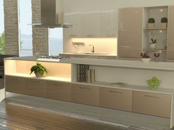 Cream gloss contemporary kitchen