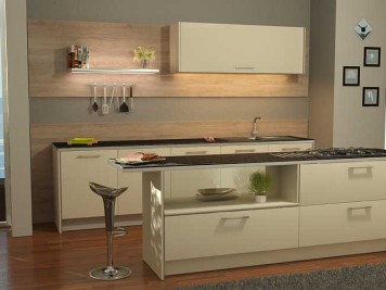 Cream kitchen cabinets black granite worktops