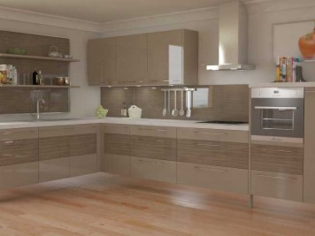 Gloss slab front kitchen units