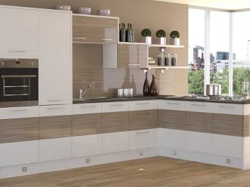 White gloss wood grain modern kitchen