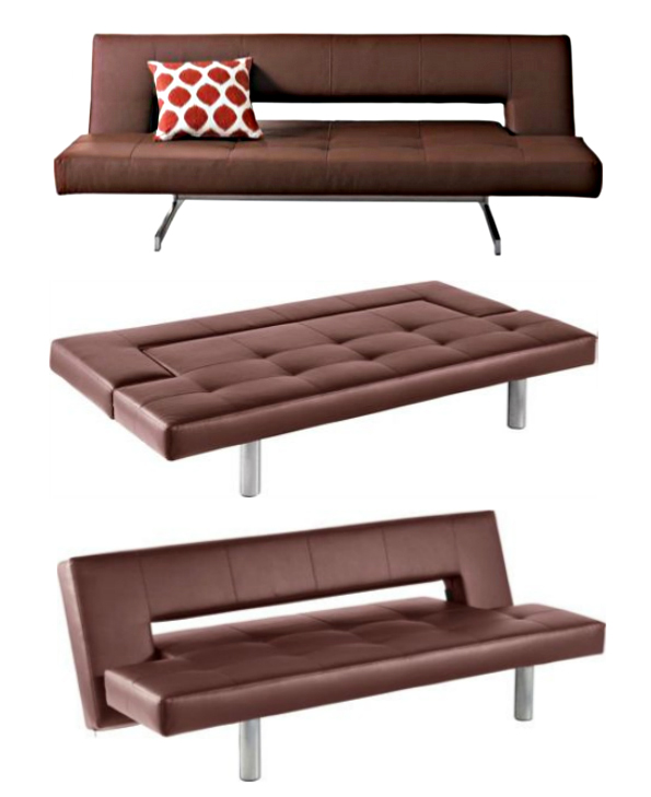 Floyd leather effect clic clac brown sofa bed my home rocks - Clic clac housse ...