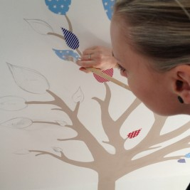 Nursery tree mural in progress