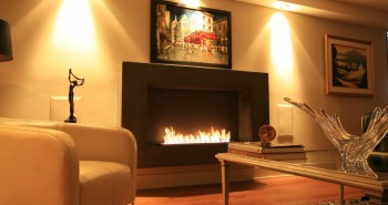 Via BioflameUL certified bio ethanol burning fireplace.