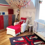 Red blue white nursery chair