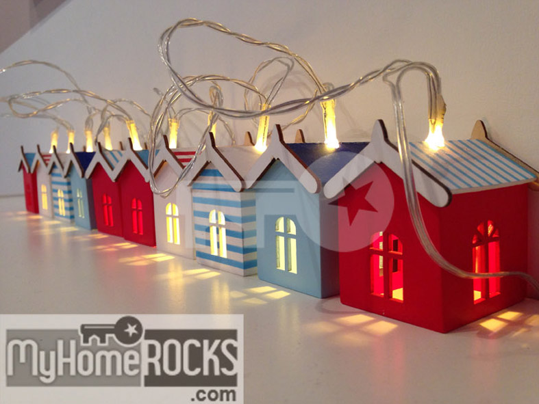 Beach Hut Fairy Lights Nautical Theme String Lights My Home Rocks - Boys fairy lights for bedroom